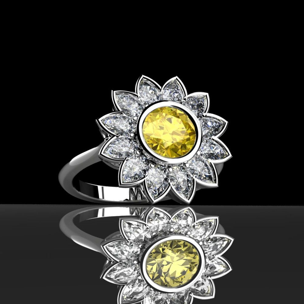 Yellow diamond daisy ring