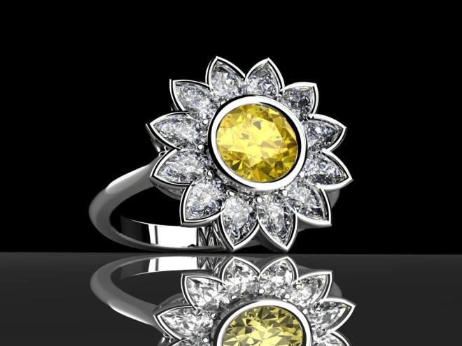 Yellow diamond daisy ring
