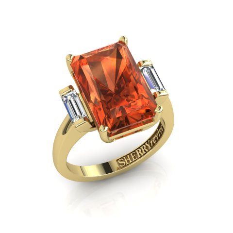 Baguette diamonds with spessartite garnet, bespoke ring