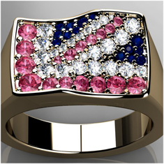 CColoured diamonds set into union jack ring