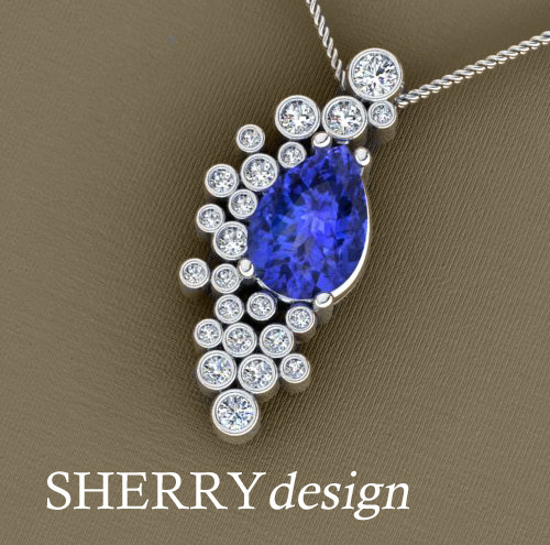 Tanzanite and diamond bubble pendant