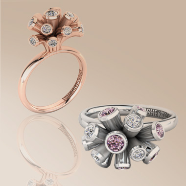 Platinum and red gold Anenome rings