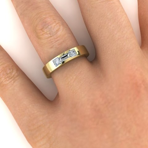 Wedding ring with princess cut and baguette diamonds