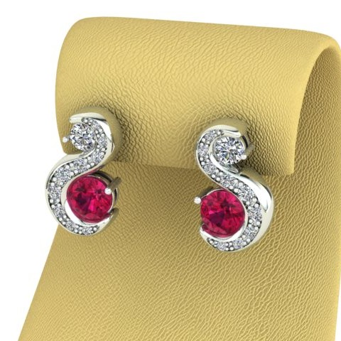 18ct white gold bespoke diamond and ruby stud earrings