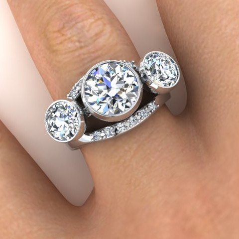Three stone diamond ring with tiny diamond detail