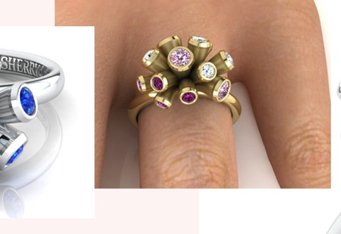 Pink and blue sapphires and diamonds, shown in platinum and 18ct yellow gold