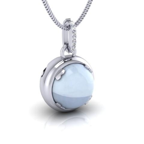 Blue spherical pendant with diamond bail