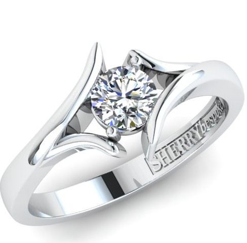 Off-set diamond ring