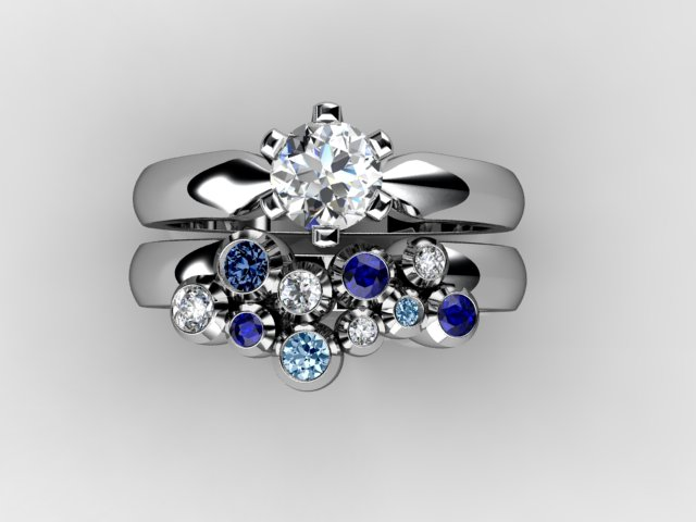 Bubble ring with blue and white diamonds
