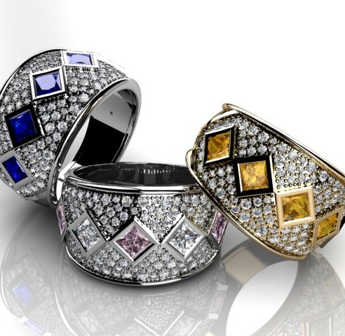 Diamond pave set rings with coloured sapphires