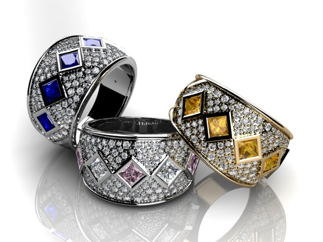 Coloured sapphire rings