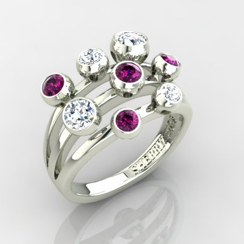 three band scatter ring with pink diamonds