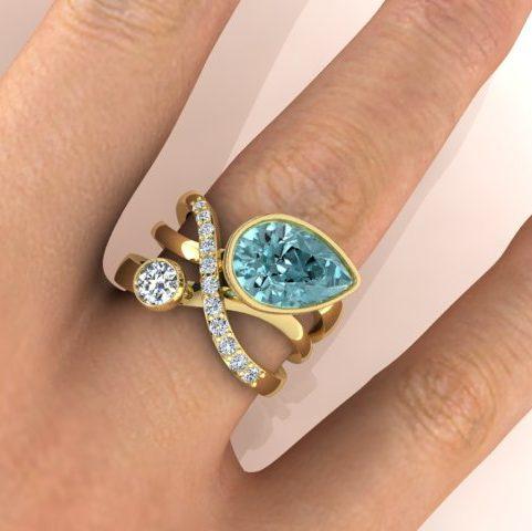 Aquamarine and diamond Ardour ring