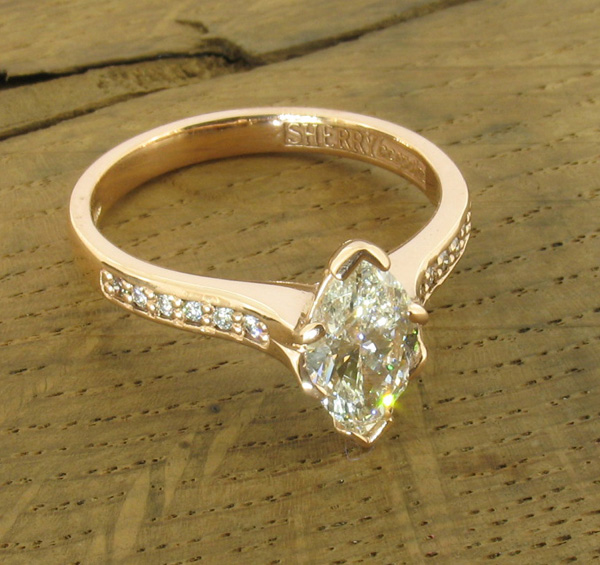 Red gold marquise cut diamond bespoke engagement ring