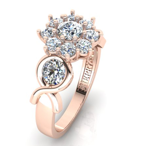 Rose gold pink ribbon diamond ring