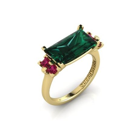Green tourmaline and ruby ring