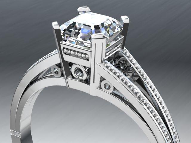 Platinum art deco style ring