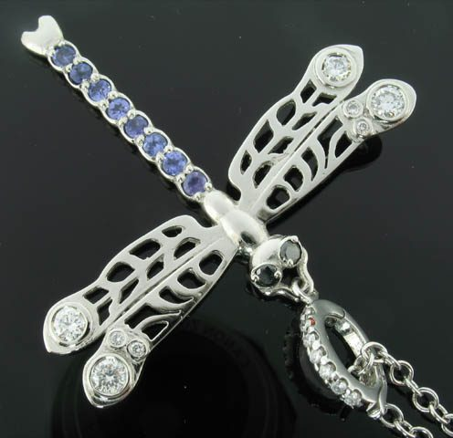 Platinum, tanzanite and diamond dragonfly