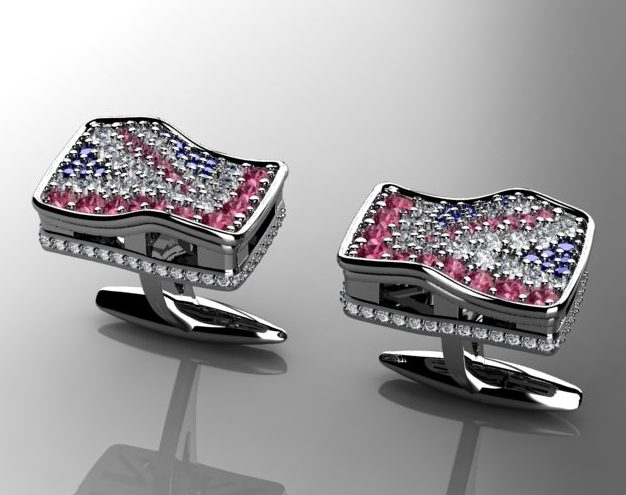 Diamond Union Jack cufflinks