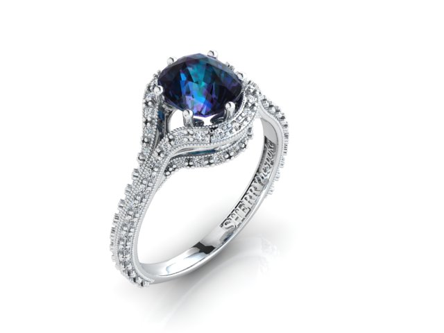 Alexandrite ring in platinum with diamonds
