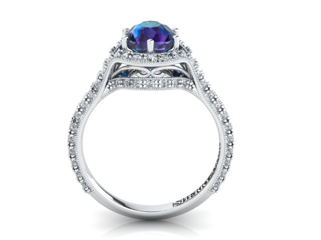 Alexandrite and diamond ring in platinum