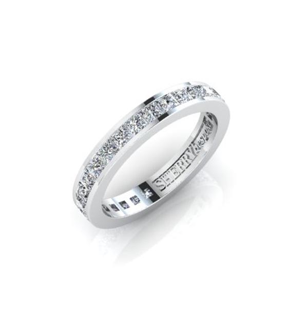 Full eternity princess diamond wedding ring