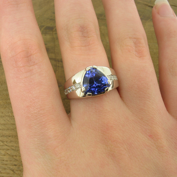 Tanzanite statement ring in platinum