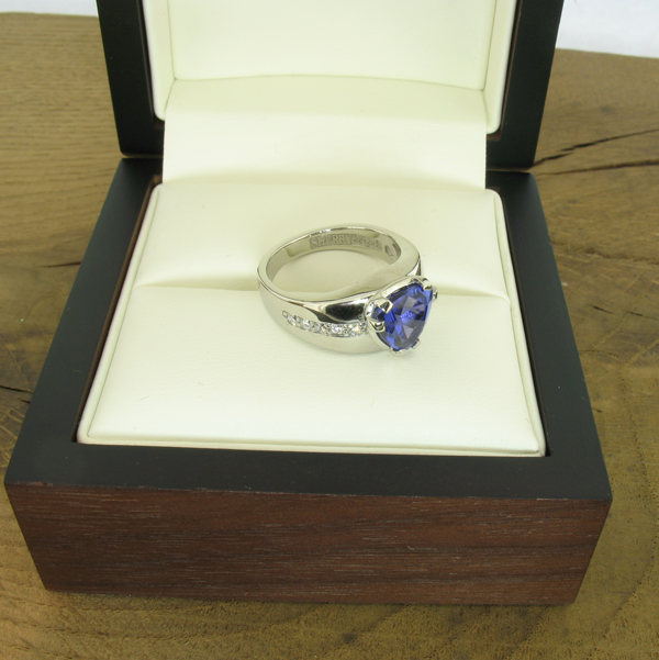 Tanzanite statement ring with diamonds