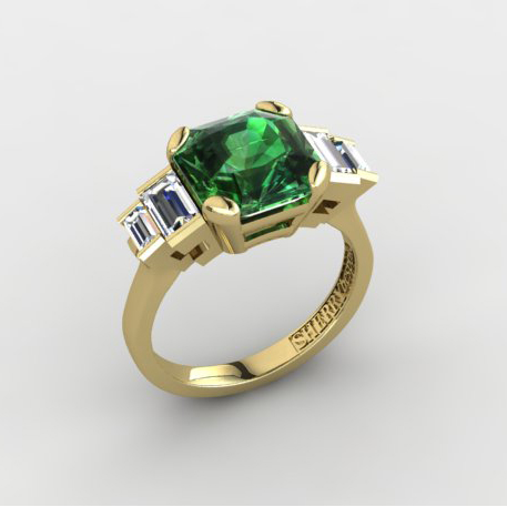 Green tourmaline and baguette diamond