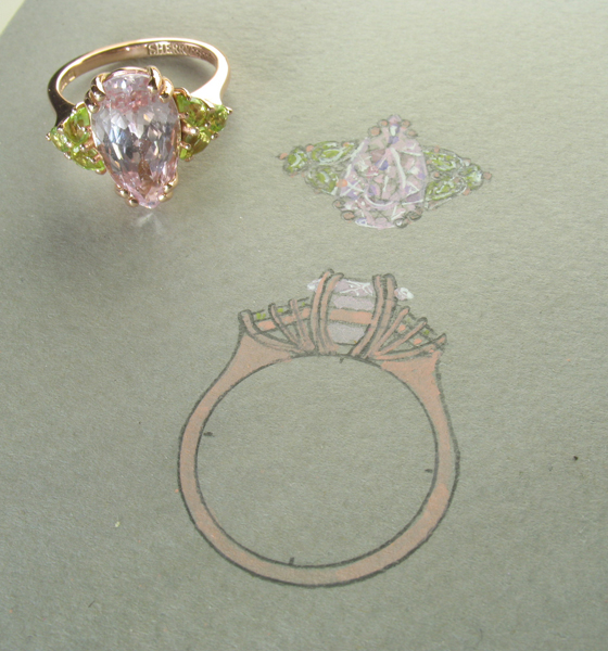 Kunzite ring with peridot with design