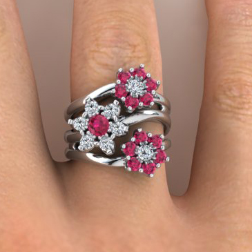 Diamond and ruby floral ring remodel