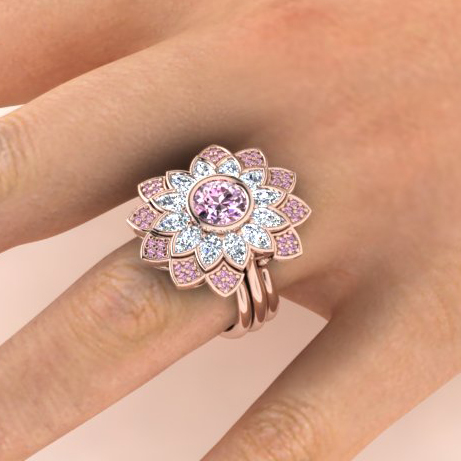 Pink diamond daisy engagement and wedding ring set