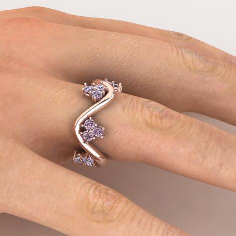 Pink sapphire wavy ring