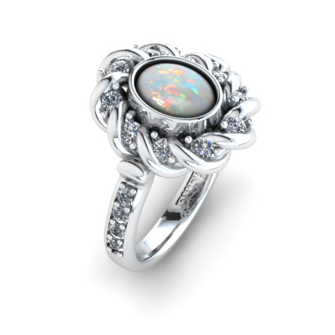 Platinum opal and diamond rope twist ring