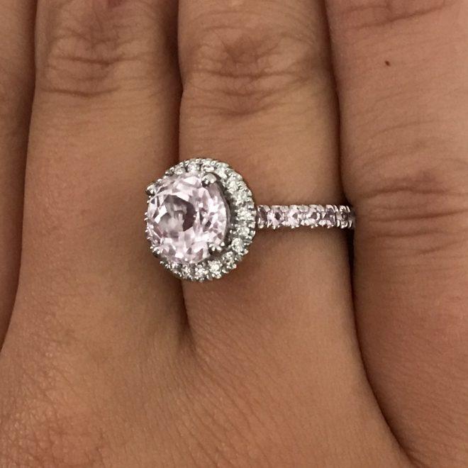 Kunzite and diamond halo cluster ring in platinum