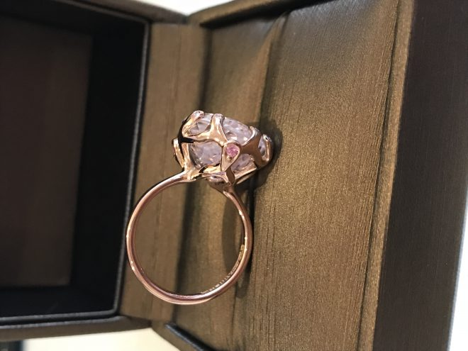 Kunzite pink sapphire and diamond ring rose gold