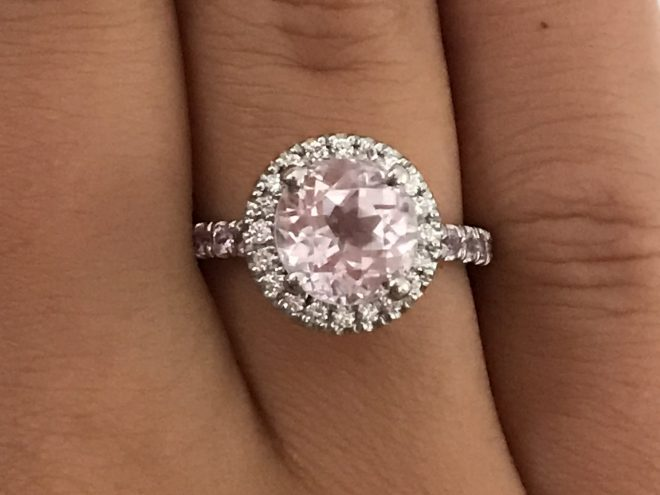 Diamond halo ring with pink kunzite